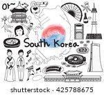 travel to south korean doodle... | Shutterstock .eps vector #425788675