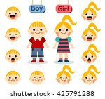 cute girl and boy with faces... | Shutterstock .eps vector #425791288