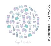 circle vector pattern with yoga ... | Shutterstock .eps vector #425791402