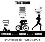 black flat triathlon. vector...