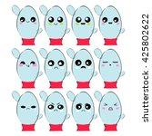 vector icon set. kawaii water... | Shutterstock .eps vector #425802622