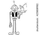 black and white robot waiter... | Shutterstock .eps vector #425808982