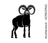aries zodiac sign or ram black... | Shutterstock .eps vector #425810962