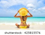 happy carefree woman relaxing... | Shutterstock . vector #425815576