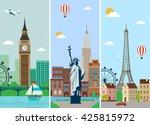 Cities skylines design with landmarks. London, Paris and New York cities skylines design with landmarks. Flat landscapes. Vector illustration. | Shutterstock vector #425815972