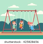 three kids boys and girl... | Shutterstock .eps vector #425828656