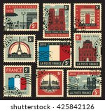 set of stamps on the theme of... | Shutterstock .eps vector #425842126