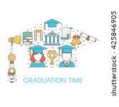 Graduation Outline Vector Set...