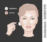face shape contour guide.... | Shutterstock .eps vector #425847295