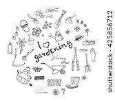 hand drawn doodles of gardening ...   Shutterstock .eps vector #425856712