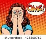 surprised omg shocked woman | Shutterstock . vector #425860762