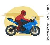 sport blue motorbike rider... | Shutterstock .eps vector #425862856