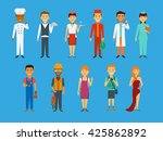 set of profession in flat...   Shutterstock .eps vector #425862892