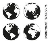 earth globe revolved in four... | Shutterstock .eps vector #425872975