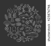 seafood vector flat line icons... | Shutterstock .eps vector #425876746