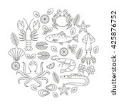 seafood vector flat line icons... | Shutterstock .eps vector #425876752