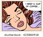 woman dreams morning cup coffee | Shutterstock . vector #425884918