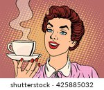 girl with cup of coffee | Shutterstock . vector #425885032