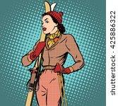girl retro skier | Shutterstock . vector #425886322