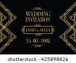 wedding invitation art deco  | Shutterstock .eps vector #425898826