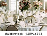 luxury table with the bouquet... | Shutterstock . vector #425916895