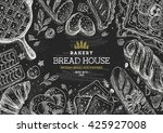 bakery background. linear... | Shutterstock .eps vector #425927008