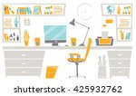 flat  home office interior.... | Shutterstock .eps vector #425932762