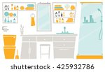flat interior of bathroom place ... | Shutterstock .eps vector #425932786
