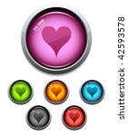 glossy heart button icon set in ...   Shutterstock .eps vector #42593578