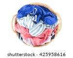 top view clothes on wicker... | Shutterstock . vector #425958616