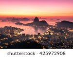 Rio de Janeiro just before Sunrise, City Lights, and Sugarloaf Mountain