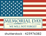 usa flag with text memorial day ... | Shutterstock .eps vector #425976382