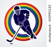hockey player pose designed on... | Shutterstock .eps vector #425992132