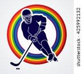 hockey player pose designed on... | Shutterstock .eps vector #425992132