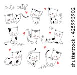 Stock vector cute cat set 425993902