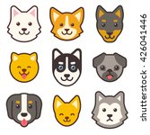 Cartoon Dog Faces Set....