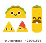mexican food with cute smiling... | Shutterstock .eps vector #426041596