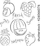 set of vector icons  of fruit . ... | Shutterstock .eps vector #426066076