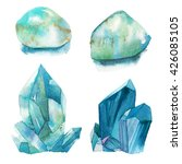 watercolor turquoise gem stones ... | Shutterstock . vector #426085105