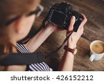 young woman photographer... | Shutterstock . vector #426152212