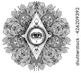 all seeing eye in ornate round... | Shutterstock .eps vector #426209392