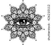 all seeing eye in ornate round... | Shutterstock .eps vector #426210112