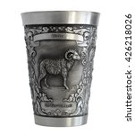 Small photo of Pewter cup with a bas-relief of an Aries zodiac isolated on white background