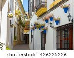 Small photo of Streets decorated with flowers and barred windows typical of the city of Cordoba, Spain