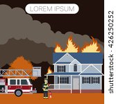 fireman and a house   Shutterstock .eps vector #426250252
