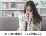 sick young woman at home on the ... | Shutterstock . vector #426308122