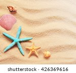 seashells on a summer beach and ... | Shutterstock . vector #426369616