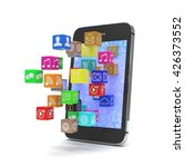icon app fall in smart phone.... | Shutterstock . vector #426373552