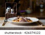 lamb with bulghur rice   Shutterstock . vector #426374122