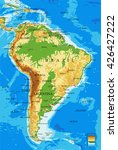 south america physical map | Shutterstock .eps vector #426427222